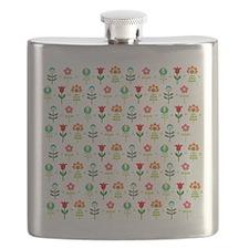 Retro folk floral pattern Flask