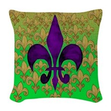 Purple and Gold fleur de lace Woven Throw Pillow