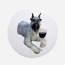 Dog with Drink Ornament (Round)