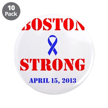 """Boston Strong Red and Blue 3.5"""" Button (10 pack)"""