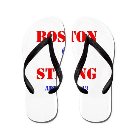 Boston Strong Red and Blue Flip Flops