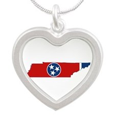 Tennessee Flag Silver Heart Necklace