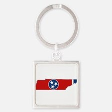 Tennessee Flag Square Keychain
