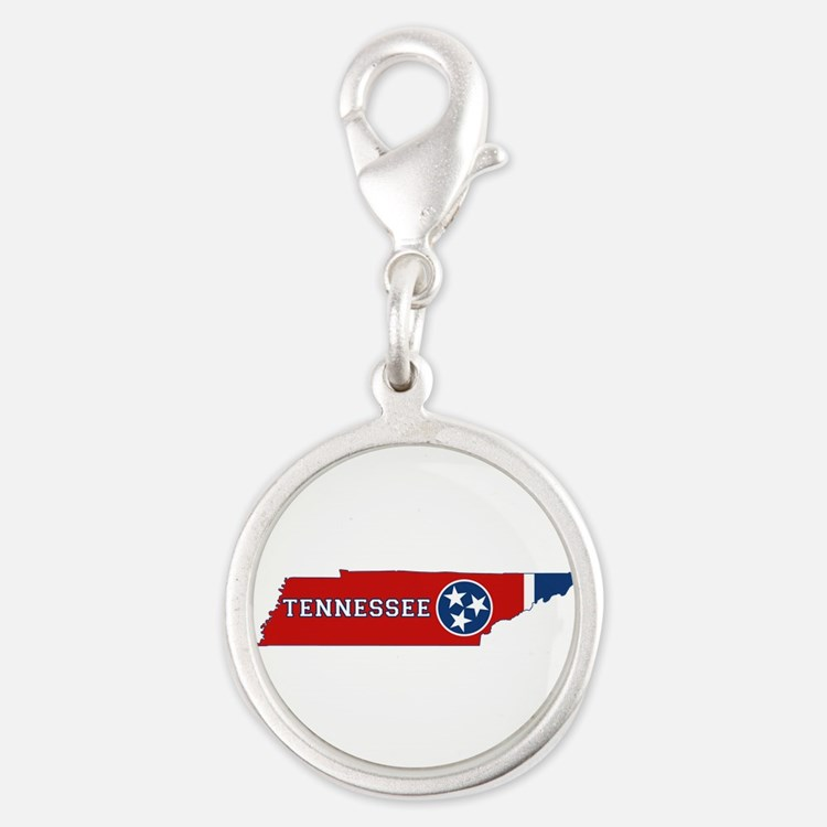 Tennessee Flag Silver Round Charm