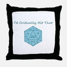 I'd Critically Hit That - Blue Throw Pillow