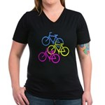 Bicycles | Women's V-Neck Dark T-Shirt