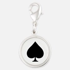 Spade Silver Round Charm