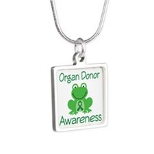 Organ Donor Awareness Silver Square Necklace