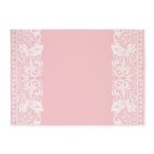Light Pink Damask 5'x7'Area Rug