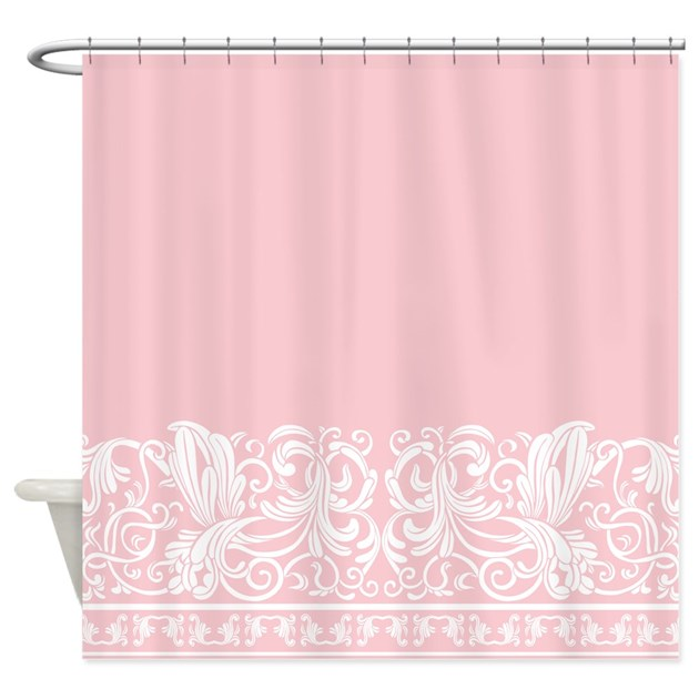 Light pink damask shower curtain by decorativedesigns for Light pink shower curtain