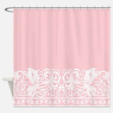 Light pink shower curtains light pink fabric shower for Plain pink shower curtain