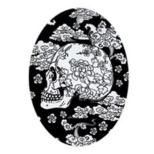 Skull With Blossoms Ornament (Oval)
