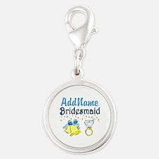 BRIDESMAID Silver Round Charm