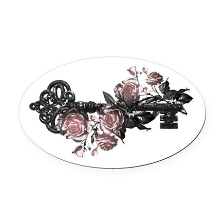 Gothic Key And Roses Oval Car Magnet