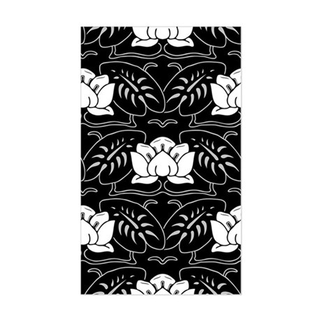 Black And White Water Lily Sticker (Rectangle)