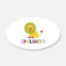 Emiliano Loves Lions Oval Car Magnet