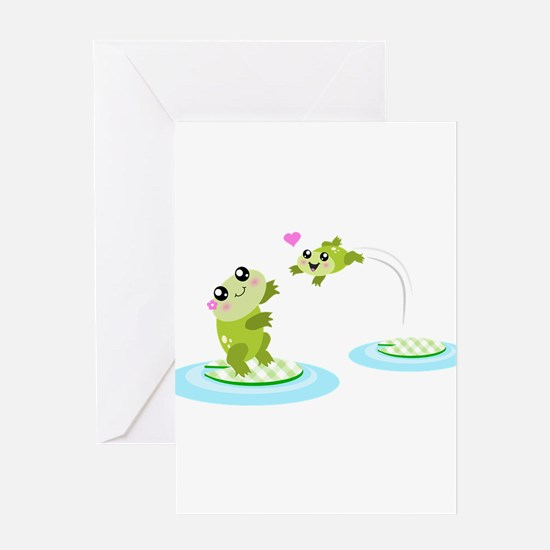 Cute mother and child frogs Greeting Card