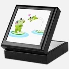 Cute mother and child frogs Keepsake Box