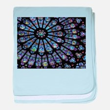 Stained glass window Notre Dame baby blanket
