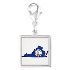 Virginia Flag Silver Square Charm