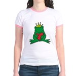 Frog Prince Crown Heart Cartoon Jr. Ringer T-Shirt