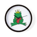 Frog Prince Crown Heart Cartoon Wall Clock