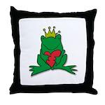Frog Prince Crown Heart Cartoon Throw Pillow