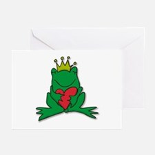 Frog Prince Crown Heart Cartoon Greeting Cards (Pa