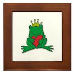 Frog Prince Crown Heart Cartoon Framed Tile