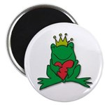 "Frog Prince Crown Heart Cartoon 2.25"" Magnet (10 p"