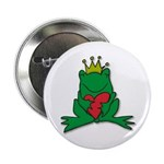 "Frog Prince Crown Heart Cartoon 2.25"" Button (10 p"