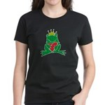 Frog Prince Crown Heart Cartoon Women's Dark T-Shi