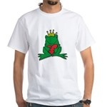 Frog Prince Crown Heart Cartoon White T-Shirt