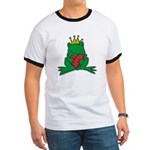 Frog Prince Crown Heart Cartoon Ringer T