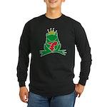 Frog Prince Crown Heart Cartoon Long Sleeve Dark T