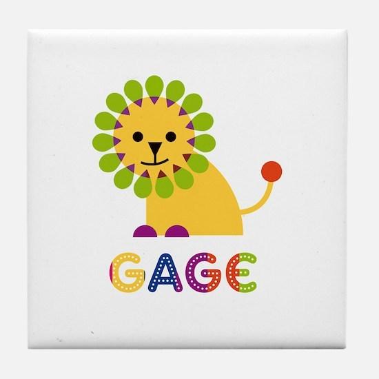 Gage Loves Lions Tile Coaster
