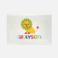 Grayson Loves Lions Rectangle Magnet