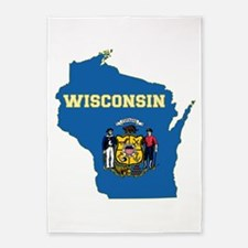 Wisconsin Flag 5'x7'Area Rug