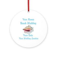 Custom Beach Wedding Ornament (Round)