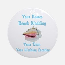 Custom Beach Wedding Ornament (Round)