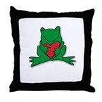 Frog Cartoon Heart Cute Animal Throw Pillow