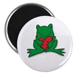 "Frog Cartoon Heart Cute Animal 2.25"" Magnet (10 pa"