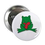"Frog Cartoon Heart Cute Animal 2.25"" Button (10 pa"