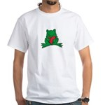 Frog Cartoon Heart Cute Animal White T-Shirt