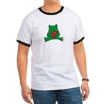 Frog Cartoon Heart Cute Animal Ringer T