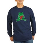 Frog Cartoon Heart Cute Animal Long Sleeve Dark T-