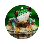 Frog Watercolor Painting Ornament (Round)