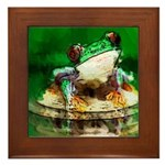 Frog Watercolor Painting Framed Tile