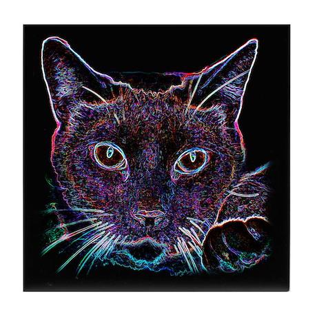 Glowing Cat Tile Coaster