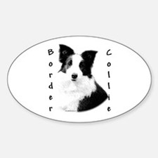 Border Collie Charcoal Oval Decal